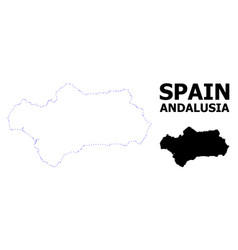 Contour dotted map andalusia province vector
