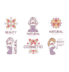 cosmetic salon labels set natural beauty badges vector image