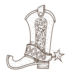 Cowboy boot logo wild west outline drawing for vector