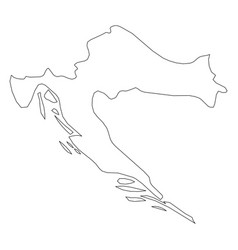 Croatia - solid black outline border map of vector