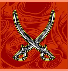 cross sword hand drawing vector image