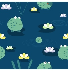 Cute frog seamless pattern vector