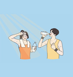 Drinking water and hot summer concept vector