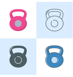 dumbbell icon set in flat and line style vector image