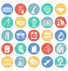 education and stydying set on color circles vector image