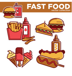 fast food burgers sandwiches snacks and meals vector image