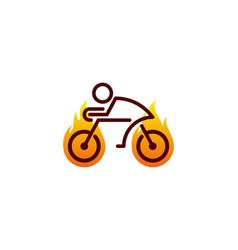 fire bike logo icon design vector image