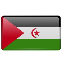 Flags Western Sahara in the form of a magnet on vector
