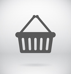 Flat Cart Bucket Sign Shopping Bin Symbol vector image