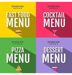 Flat fast food menu typography design vector