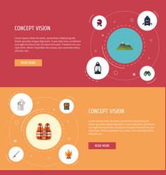 Flat icons fire ship lifesaver and other vector