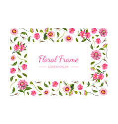 floral rectangular frame with beautiful pink vector image