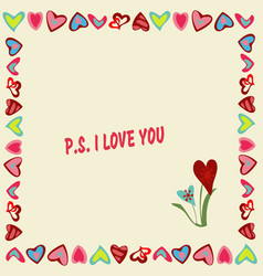 frame of hearts on a yellow background with text p vector image