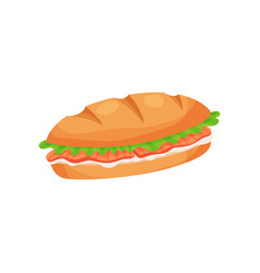 French sandwich loaf with ham slices cheese and vector