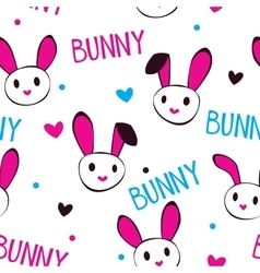 Funny girlish texture with bunny faces vector