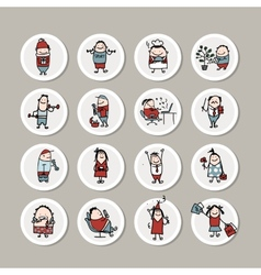Funny people collection for your design vector image