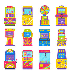Game machines playing and gambling set vector