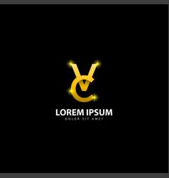 Gold letter v logo vc letter design with golden vector