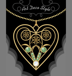 golden art deco filigree necklace pendant in vector image