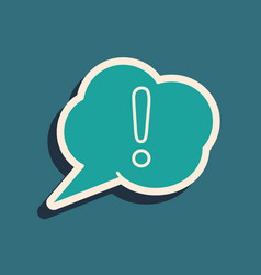 Green speech bubble and exclamation icon isolated vector