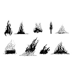 hand drawn flames and fire vector image