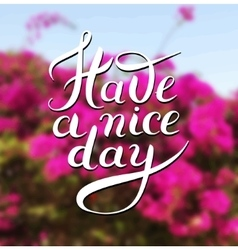 Have a nice day hand lettering phrase on floral vector image