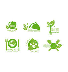 healthy natural product logos set eco organic vector image