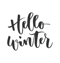 Hello winter hand written inscription vector