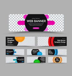 horizontal black web banner templates with place vector image
