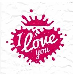 I love you lettering in heart shape splash vector