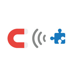 icon concept of magnet attracting missing puzzle vector image