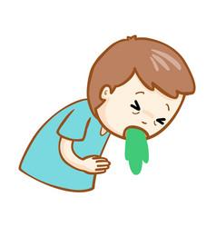 Ill man vomiting cartoon vector