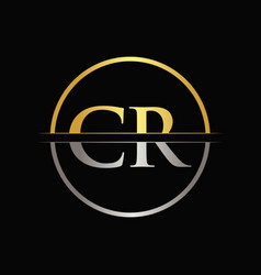 initial gold and silver color cr letter logo vector image