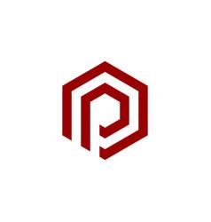 initial logo p hexagonal vector image