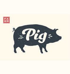 isolated pig silhouette with lettering vector image