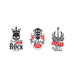 legendary rock fest logo templates set heavy rock vector image