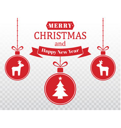 merry christmas card set of red hanging xmas vector image