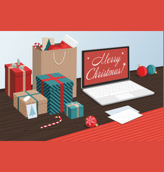 merry christmas gift boxes and shopping bags vector image