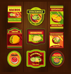 Mexican Food Bright Colorful Emblems vector