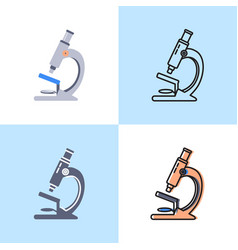 microscope icon set in flat and line styles vector image