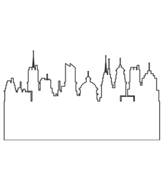 Modern city skyline silhouette outline icon vector