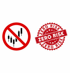 No candlestick chart icon with distress zero risk vector