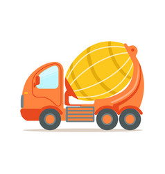Orange concrete mixing truck construction vector