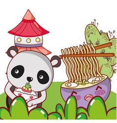 Panda bear and food kawaii vector