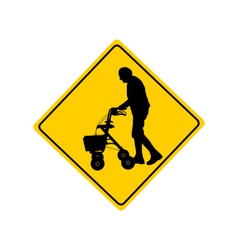 People with rollator warning sign vector