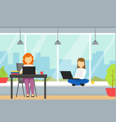 people working together in coworking open office vector image
