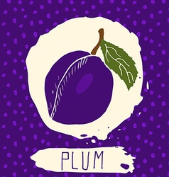 Plum hand drawn sketched fruit with leaf on vector image