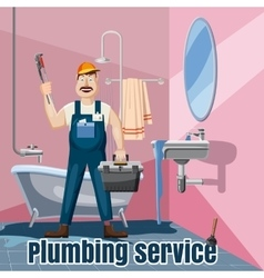 Plumbing fix bath washbasin concept cartoon style vector