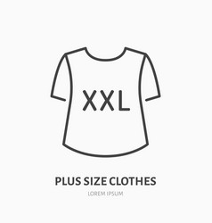 Plus size clothes store flat line icon women xxl vector