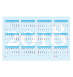 pocket calendar for 2018 year on blue vector image
